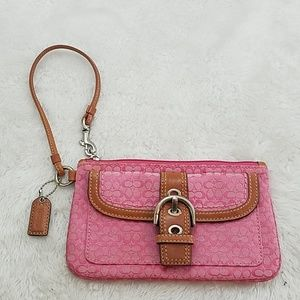 Coach Signature Small C buckle flap pink wristlet
